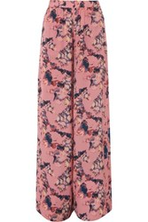 Iro Tany Printed Crepe De Chine Wide Leg Pants Pink