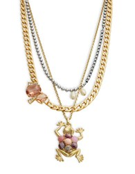 Gerard Yosca Nested Frog Necklace Pink