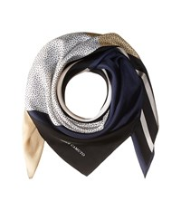 Vince Camuto Spots And Stripes Square Dark Navy Scarves