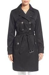Women's Laundry By Shelli Segal Double Breasted Trench Coat Black