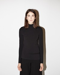 Proenza Schouler Slashed Viscose Turtleneck Black