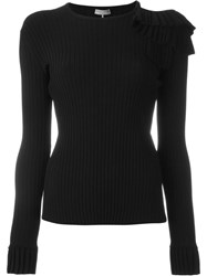 Emilio Pucci Ruffle Detail Ribbed Top Black