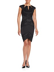 Jax Lace Trimmed Sheath Dress Black