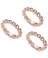 Givenchy 3 Pc. Set Crystal Bezel Stackable Rings Rose Gold