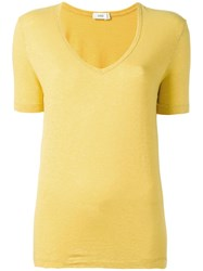 Closed V Neck T Shirt Yellow Orange