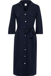 Iris And Ink Woman Willow Belted Cady Shirt Dress Midnight Blue