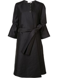 Antonio Berardi Three Quarters Draped Sleeve Coat Blue