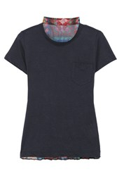 Sacai Linen Blend Jersey And Pleated Printed Chiffon T Shirt Navy