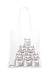 Forever 21 Cat Print Canvas Tote Bag Beige Multi