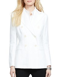 Lauren Ralph Lauren Double Breasted Canvas Blazer White
