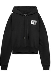 Off White Printed Cotton Jersey Hoodie Black