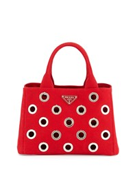 Prada Canapa Grommet Small Garden Tote Bag Red Rosso Size S