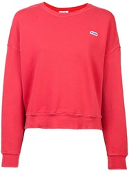 Re Done Cropped Crew Neck Sweatshirt Red