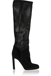 Brian Atwood Neda Perforated Pony Hair And Suede Knee Boots