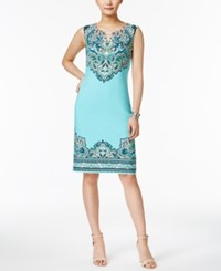 Jm Collection Printed Keyhole Dress Only At Macy's Aqua Heaven Medal