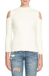 1.State Women's Cold Shoulder Mock Neck Sweater