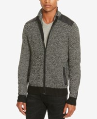 Kenneth Cole Reaction Men's Marled Zip Front Cardigan Charcoal Heather