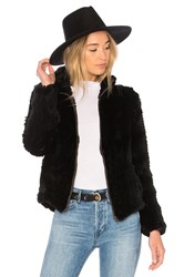 Adrienne Landau Knit Rabbit Zip Jacket Black