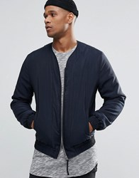 Asos Collarless Bomber Jacket In Navy Navy