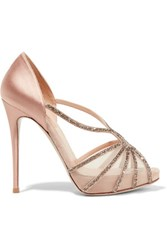 Valentino Embellished Mesh And Satin Sandals Blush