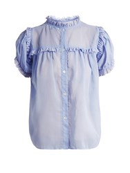 Jupe By Jackie Lemon Drop Dot Embroidered Cotton Organdy Top Light Blue