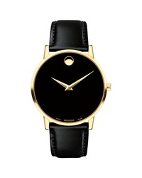 Movado 40Mm Ultra Slim Pvd Watch With Black Leather Strap And Museum Dial