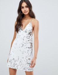 Girls On Film Sequin Bodycon Dress With Chain Strap Detail White