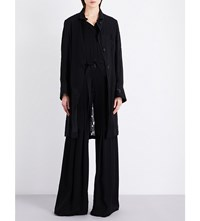 Ann Demeulemeester Single Breasted Linen Blend Coat Black And Cotone