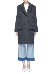 Ms Min Peaked Lapel Oversized Coat Grey