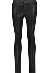 Rag And Bone Hyde Low Rise Leather Paneled Skinny Jeans Black