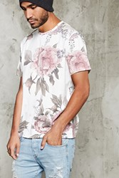 Forever 21 Floral Print Tee Cream Pink