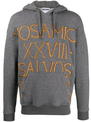 Moschino Roman Embroidery Knitted Hoodie Grey