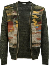 Dries Van Noten Intarsia Cardigan Green