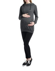 Kimi Kai Maternity Striped Asymmetrical Zip Front Hoodie Black