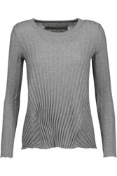 Enza Costa Ribbed Cotton And Cashmere Blend Sweater Dark Gray