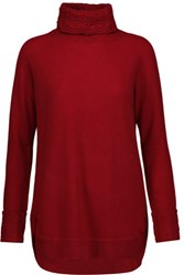 Magaschoni Cable Knit Cashmere Turtleneck Sweater Claret