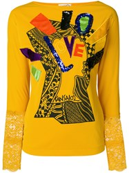 Kansai Yamamoto Vintage Long Sleeve T Shirt With Applique Yellow And Orange