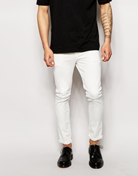 Asos Super Skinny Jeans With Knee Zips White
