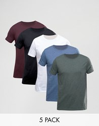 Asos T Shirt With Crew Neck 5 Pack Wh Bk Oxb Gg Dd Multi