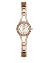 Guess Petite Stainless Steel And Crystal Self Adjustable Bracelet Watch Rose Gold