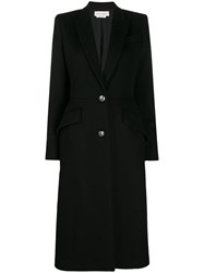 Alexander Mcqueen Single Breasted Fitted Coat Black