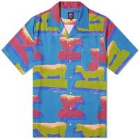 Brain Dead Short Sleeve Cow Print Shirt Blue