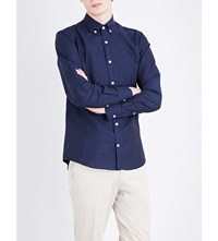 Tiger Of Sweden Donald Slim Fit Cotton And Linen Blend Shirt Navy Peony