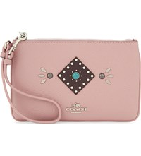 Coach Small Leather Wristlet Clutch Sv Pink