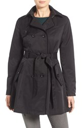 Betsey Johnson Women's Corset Back Trench Coat Black