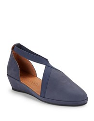 Gentle Souls Natalia D Orsay Suede Wedges Navy Blue
