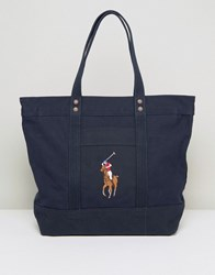 Polo Ralph Lauren Canvas Tote Bag In Navy Navy