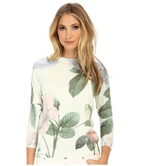 Ted Baker Naldine Pastel Floral Easy Sweater Mint Women's Sweater Green
