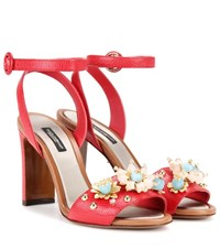 Dolce And Gabbana Embellished Embossed Leather Sandals Red