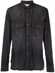 Miharayasuhiro Frayed Denim Shirt Black